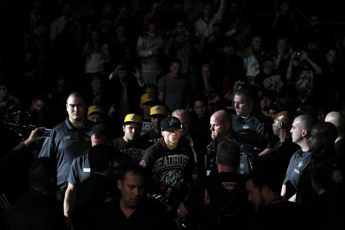 TORONTO, ON - DECEMBER 10:  Mark Hominick of London, Ontario enters the arena before his bout against Chan Sung Jung during the UFC 140 event at Air Canada Centre on December 10, 2011 in Toronto, Ontario, Canada.  (Photo by Nick Laham/Zuffa LLC/Zuffa LLC