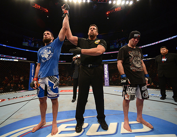 ANAHEIM, CA - FEBRUARY 23:  Court McGee (left) is declared the winner over Josh Neer in their welterweight bout during UFC 157 at Honda Center on February 23, 2013 in Anaheim, California.  (Photo by Donald Miralle/Zuffa LLC/Zuffa LLC via Getty Images) ***