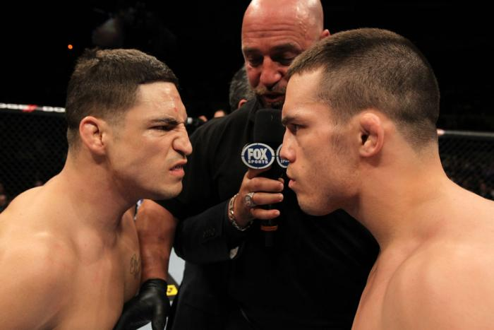 OMAHA, NE - FEBRUARY 15:  Opponents Diego Sanchez (L) and Jake Ellenberger (R) face off before their main event bout during the UFC on FUEL TV event at Omaha Civic Auditorium on February 15, 2012 in Omaha, Nebraska.  (Photo by Josh Hedges/Zuffa LLC/Zuffa