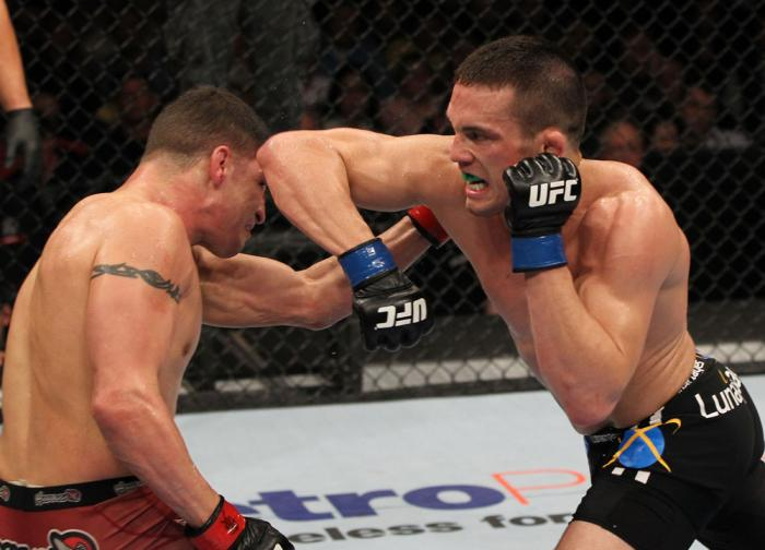 OMAHA, NE - FEBRUARY 15:  (R-L) Jake Ellenberger elbows Diego Sanchez during the UFC on FUEL TV event at Omaha Civic Auditorium on February 15, 2012 in Omaha, Nebraska.  (Photo by Josh Hedges/Zuffa LLC/Zuffa LLC via Getty Images) *** Local Caption *** Jak