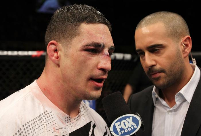 OMAHA, NE - FEBRUARY 15:  Diego Sanchez (L) is interviewed by Jon Anik after his decision loss to Jake Ellenberger during the UFC on FUEL TV event at Omaha Civic Auditorium on February 15, 2012 in Omaha, Nebraska.  (Photo by Josh Hedges/Zuffa LLC/Zuffa LL