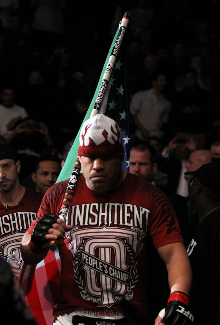 TORONTO, ON - DECEMBER 10:  Tito Ortiz enters the arena before his bout against Antonio Rogerio Nogueira during the UFC 140 event at Air Canada Centre on December 10, 2011 in Toronto, Ontario, Canada.  (Photo by Josh Hedges/Zuffa LLC/Zuffa LLC via Getty I