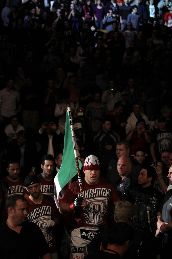TORONTO, ON - DECEMBER 10:  Tito Ortiz enters the arena before his bout against Antonio Rogerio Nogueira during the UFC 140 event at Air Canada Centre on December 10, 2011 in Toronto, Ontario, Canada.  (Photo by Nick Laham/Zuffa LLC/Zuffa LLC via Getty Im