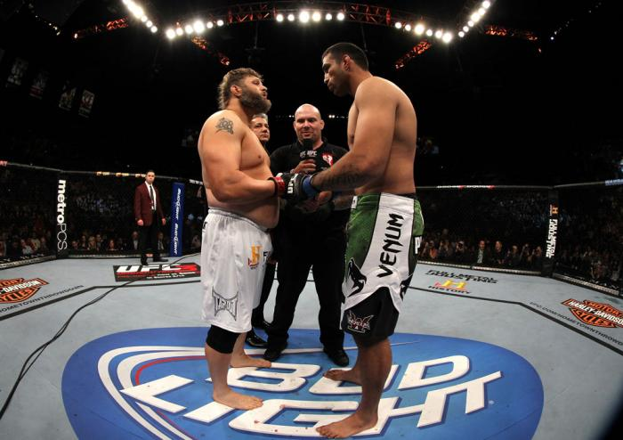 LAS VEGAS, NV - FEBRUARY 04:  (L-R) Roy Nelson and Fabricio Werdum touch gloves before their fight during the UFC 143 event at Mandalay Bay Events Center on February 4, 2012 in Las Vegas, Nevada.  (Photo by Josh Hedges/Zuffa LLC/Zuffa LLC via Getty Images
