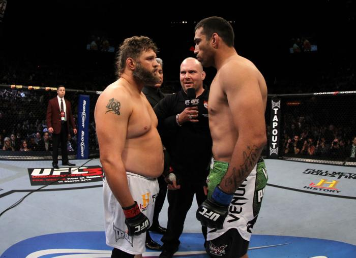 LAS VEGAS, NV - FEBRUARY 04:  (L-R) Roy Nelson and Fabricio Werdum face off before their fight during the UFC 143 event at Mandalay Bay Events Center on February 4, 2012 in Las Vegas, Nevada.  (Photo by Josh Hedges/Zuffa LLC/Zuffa LLC via Getty Images) **