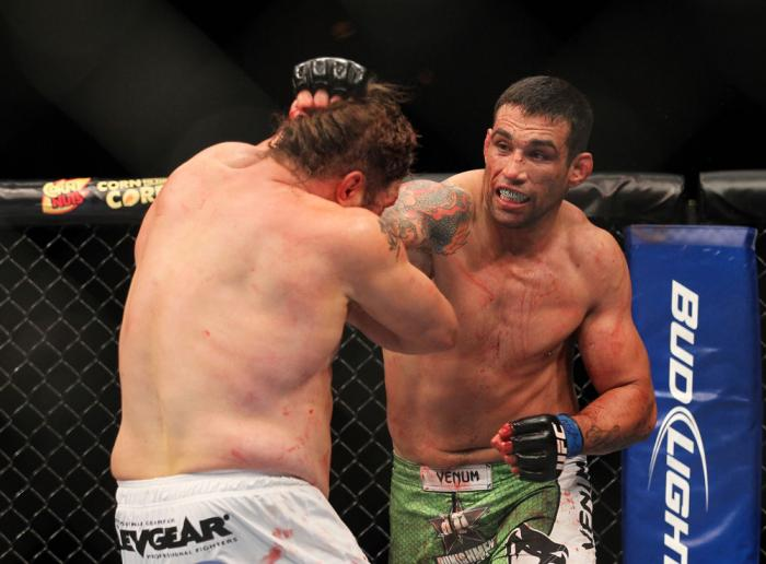 LAS VEGAS, NV - FEBRUARY 04:  Fabricio Werdum (right) punches Roy Nelson during the UFC 143 event at Mandalay Bay Events Center on February 4, 2012 in Las Vegas, Nevada.  (Photo by Josh Hedges/Zuffa LLC/Zuffa LLC via Getty Images) *** Local Caption *** Fa
