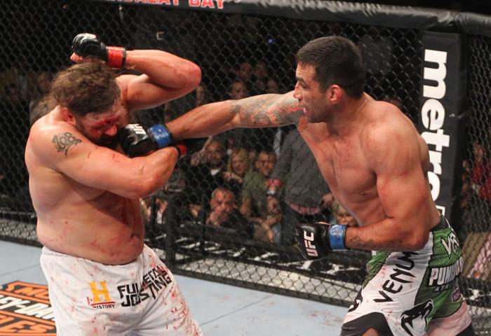 LAS VEGAS, NV - FEBRUARY 04:  Fabricio Werdum (right) punches Roy Nelson during the UFC 143 event at Mandalay Bay Events Center on February 4, 2012 in Las Vegas, Nevada.  (Photo by Nick Laham/Zuffa LLC/Zuffa LLC via Getty Images) *** Local Caption *** Fab