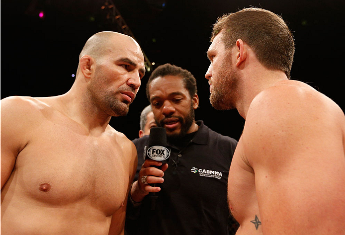 BELO HORIZONTE, BRAZIL - SEPTEMBER 04:  (L-R) Opponents Glover Teixeira and Ryan Bader face off before their light heavyweight fight during the UFC on FOX Sports 1 event at Mineirinho Arena on September 4, 2013 in Belo Horizonte, Brazil. (Photo by Josh He