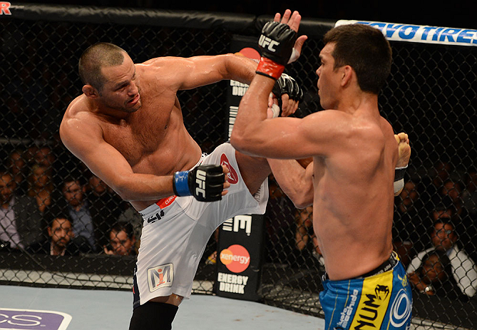 ANAHEIM, CA - FEBRUARY 23:  (L-R) Dan Henderson kicks Lyoto Machida in their light heavyweight bout during UFC 157 at Honda Center on February 23, 2013 in Anaheim, California.  (Photo by Donald Miralle/Zuffa LLC/Zuffa LLC via Getty Images) *** Local Capti