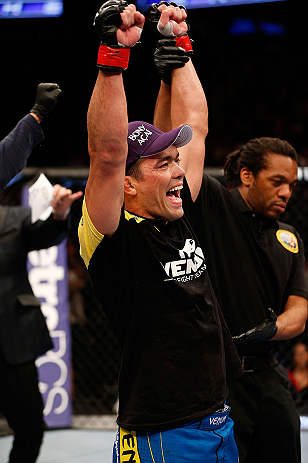 ANAHEIM, CA - FEBRUARY 23:  Lyoto Machida reacts to being declared the winner over Dan Henderson in their light heavyweight bout during UFC 157 at Honda Center on February 23, 2013 in Anaheim, California.  (Photo by Josh Hedges/Zuffa LLC/Zuffa LLC via Get