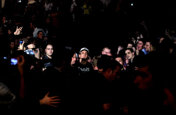 TORONTO, ON - DECEMBER 10:  Frank Mir enters the arena before his bout against Antonio Rodrigo Nogueira during the UFC 140 event at Air Canada Centre on December 10, 2011 in Toronto, Ontario, Canada.  (Photo by Josh Hedges/Zuffa LLC/Zuffa LLC via Getty Im