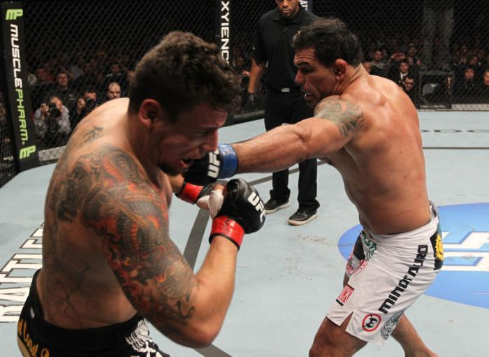 TORONTO, ON - DECEMBER 10:  (R-L) Antonio Rodrigo Nogueira punches Frank Mir during the UFC 140 event at Air Canada Centre on December 10, 2011 in Toronto, Ontario, Canada.  (Photo by Nick Laham/Zuffa LLC/Zuffa LLC via Getty Images)