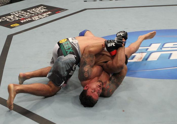 TORONTO, ON - DECEMBER 10:  Frank Mir (bottom) secures an arm lock against Antonio Rodrigo Nogueira during the UFC 140 event at Air Canada Centre on December 10, 2011 in Toronto, Ontario, Canada.  (Photo by Nick Laham/Zuffa LLC/Zuffa LLC via Getty Images)