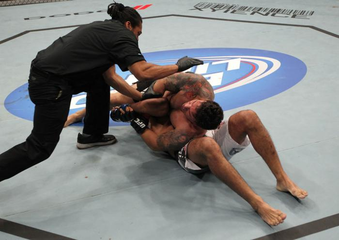 TORONTO, ON - DECEMBER 10:  Frank Mir (top) defeats Antonio Rodrigo Nogueira by TKO due to a separated shoulder from an arm lock during the UFC 140 event at Air Canada Centre on December 10, 2011 in Toronto, Ontario, Canada.  (Photo by Nick Laham/Zuffa LL