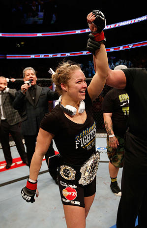 ANAHEIM, CA - FEBRUARY 23:  Ronda Rousey reacts to her victory over Liz Carmouche in their women's bantamweight title fight during UFC 157 at Honda Center on February 23, 2013 in Anaheim, California.  (Photo by Josh Hedges/Zuffa LLC/Zuffa LLC via Getty Im