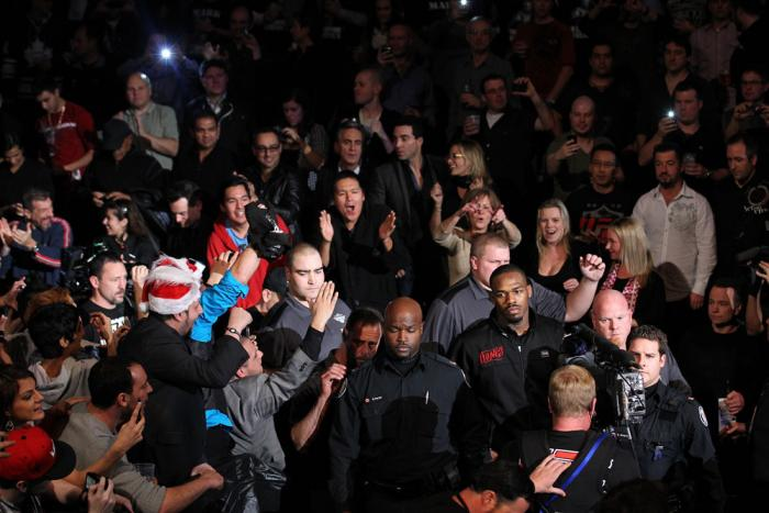 """TORONTO, ON - DECEMBER 10:  Jon """"Bones"""" Jones enters the arena before his bout against Lyoto Machida during the UFC 140 event at Air Canada Centre on December 10, 2011 in Toronto, Ontario, Canada.  (Photo by Nick Laham/Zuffa LLC/Zuffa LLC via Getty Images"""