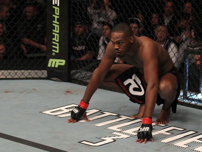 """TORONTO, ON - DECEMBER 10:  Jon """"Bones"""" Jones stands in the Octagon before his bout against Lyoto Machida during the UFC 140 event at Air Canada Centre on December 10, 2011 in Toronto, Ontario, Canada.  (Photo by Nick Laham/Zuffa LLC/Zuffa LLC via Getty I"""