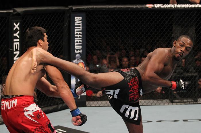 "TORONTO, ON - DECEMBER 10:  (R-L) Jon ""Bones"" Jones kicks Lyoto Machida during the UFC 140 event at Air Canada Centre on December 10, 2011 in Toronto, Ontario, Canada.  (Photo by Nick Laham/Zuffa LLC/Zuffa LLC via Getty Images)"