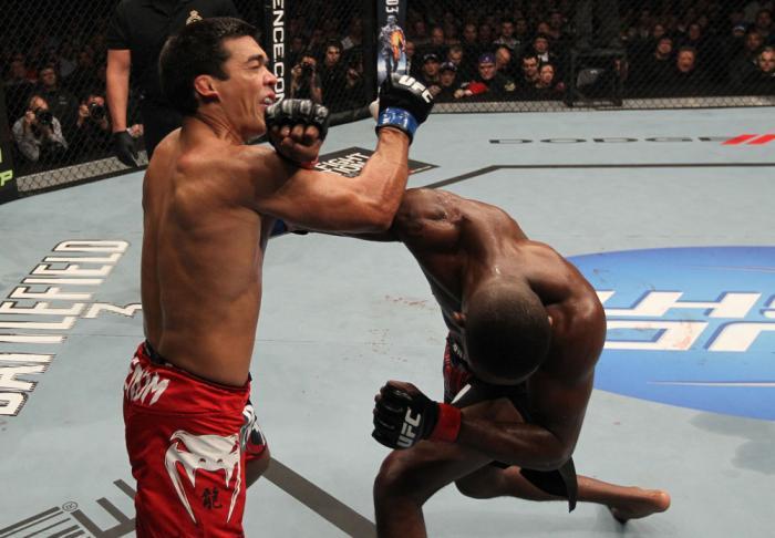 "TORONTO, ON - DECEMBER 10:  (R-L) Jon ""Bones"" Jones punches Lyoto Machida during the UFC 140 event at Air Canada Centre on December 10, 2011 in Toronto, Ontario, Canada.  (Photo by Nick Laham/Zuffa LLC/Zuffa LLC via Getty Images)"