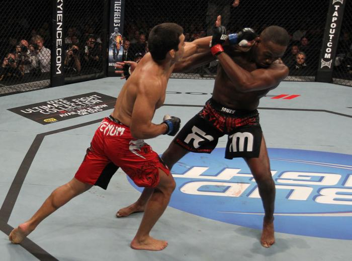 "TORONTO, ON - DECEMBER 10:  (L-R) Lyoto Machida punches Jon ""Bones"" Jones during the UFC 140 event at Air Canada Centre on December 10, 2011 in Toronto, Ontario, Canada.  (Photo by Nick Laham/Zuffa LLC/Zuffa LLC via Getty Images)"