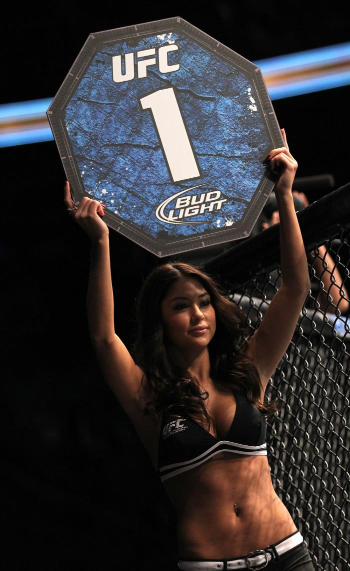 TORONTO, ON - DECEMBER 10:  UFC Octagon Girl Arianny Celeste introduces round one before the John Cholish v Mitch Clarke bout during the UFC 140 event at Air Canada Centre on December 10, 2011 in Toronto, Canada.  (Photo by Nick Laham/Zuffa LLC/Zuffa LLC)