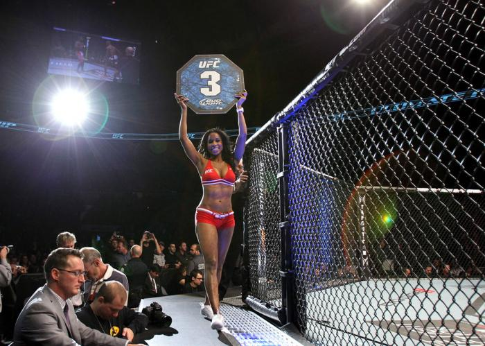 TORONTO, ON - DECEMBER 10:  UFC Octagon Girl Chandella Powell introduces round three during the Watson v Jabouin bout during the UFC 140 event at Air Canada Centre on December 10, 2011 in Toronto, Canada.  (Photo by Josh Hedges/Zuffa LLC/Zuffa LLC via Get