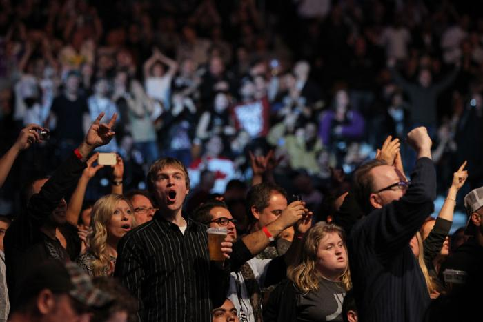 TORONTO, ON - DECEMBER 10:  Fans react after Frank Mir defeats Antonio Rodrigo Nogueira during the UFC 140 event at Air Canada Centre on December 10, 2011 in Toronto, Ontario, Canada.  (Photo by Josh Hedges/Zuffa LLC/Zuffa LLC via Getty Images)