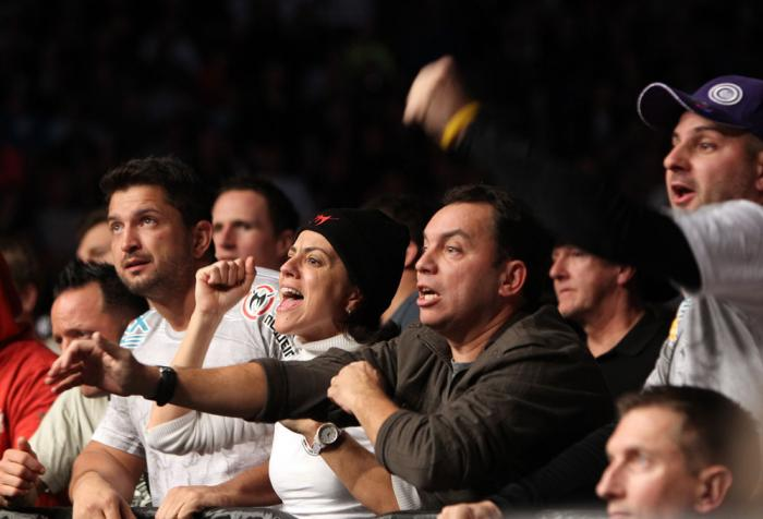 TORONTO, ON - DECEMBER 10:  Members of Antonio Rodrigo Nogueira's family react during his bout against Frank Mir during the UFC 140 event at Air Canada Centre on December 10, 2011 in Toronto, Ontario, Canada.  (Photo by Josh Hedges/Zuffa LLC/Zuffa LLC via