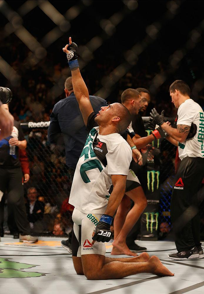 LAS VEGAS, NV - APRIL 23:  Edson Barboza celebrates his victory over Anthony Pettis in their lightweight bout during the UFC 197 event inside MGM Grand Garden Arena on April 23, 2016 in Las Vegas, Nevada.  (Photo by Christian Petersen/Zuffa LLC/Zuffa LLC