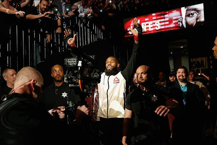 LAS VEGAS, NV - APRIL 23:  Jon Jones prepares to enter the Octagon before facing Ovince Saint Preux in their interim UFC light heavyweight championship bout during the UFC 197 event inside MGM Grand Garden Arena on April 23, 2016 in Las Vegas, Nevada.  (P