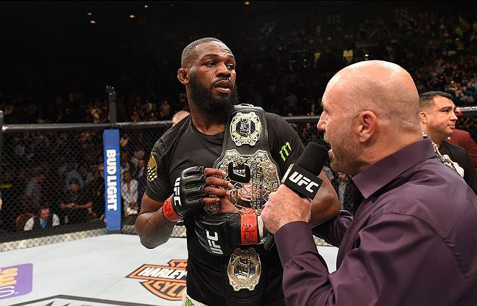 LAS VEGAS, NV - APRIL 23:  Joe Rogan interviews Jon Jones after his victory over Ovince Saint Pruex in their interim UFC light heavyweight championship bout during the UFC 197 event inside MGM Grand Garden Arena on April 23, 2016 in Las Vegas, Nevada.  (P