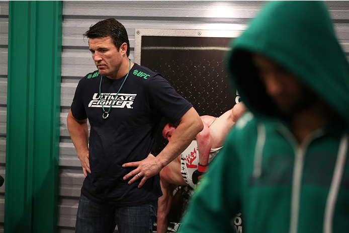 SAO PAULO, BRAZIL - JANUARY 24:  Coach Chael Sonnen helps prepare Team Sonnen fighter Guilherme de Vasconcelos before his fight against Team Wanderlei fighter Ricardo Abreu in their middleweight fight during season three of The Ultimate Fighter Brazil on