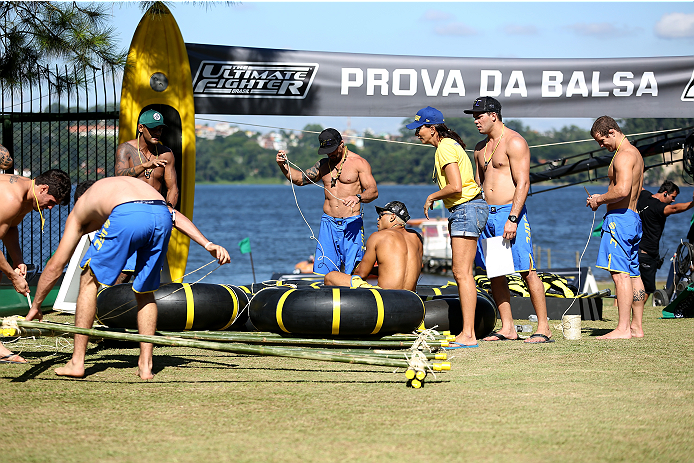 SAO PAULO, BRAZIL - JANUARY 22:  Team Wanderlei sports advisor Isabel Salgado instructs the team as they compete against Team Sonnen in a water challenge during season three of The Ultimate Fighter Brazil on January 22, 2014 in Sao Paulo, Brazil. (Photo b