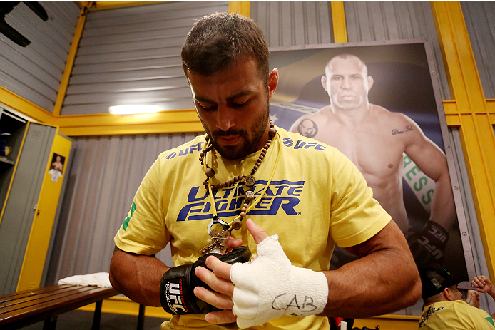 SAO PAULO, BRAZIL - JANUARY 24:  Team Wanderlei fighter Ricardo Abreu gets his hands wrapped before facing Team Sonnen fighter Guilherme de Vasconcelos in their middleweight fight during season three of The Ultimate Fighter Brazil on January 24, 2014 in S