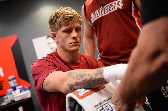 LAS VEGAS, NV - NOVEMBER 8:  Team Edgar fighter Joseph Stephens gets his hands wrapped before his bout against team Penn fighter Roger Zapata in their preliminary fight during filming of season nineteen of The Ultimate Fighter on November 8, 2013 in Las V