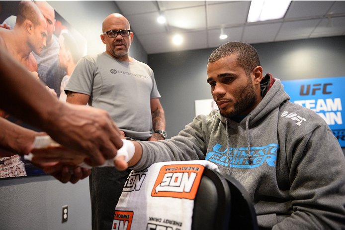 LAS VEGAS, NV - NOVEMBER 8:  Team Penn fighter Roger Zapata gets his hands wrapped before his bout against team Edgar fighter Joseph Stephens in their preliminary fight during filming of season nineteen of The Ultimate Fighter on November 8, 2013 in Las V