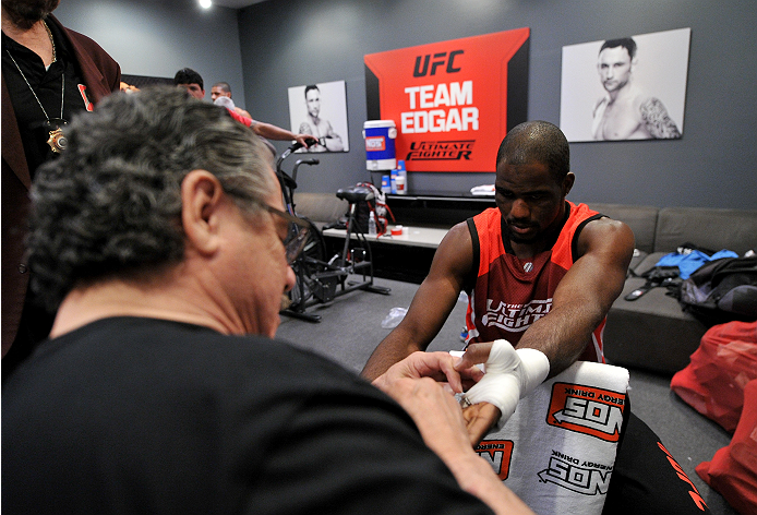 LAS VEGAS, NV - NOVEMBER 21:  Team Edgar fighter Corey Anderson gets his hands wrapped before facing team Edgar fighter Patrick Walsh in their semi-final fight during filming of season nineteen of The Ultimate Fighter on November 21, 2013 in Las Vegas, Ne