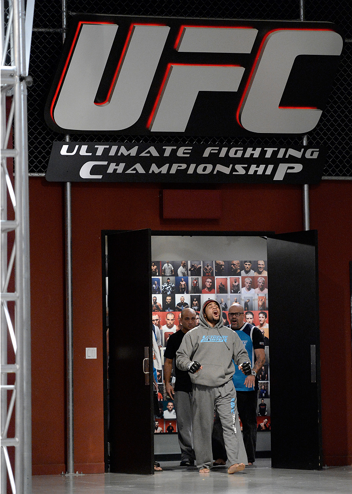 LAS VEGAS, NV - NOVEMBER 21:  Team Penn fighter Roger Zapata runs out to the Octagon before facing team Edgar fighter Dhiego Lima in their semi-final fight during filming of season nineteen of The Ultimate Fighter on November 21, 2013 in Las Vegas, Nevada