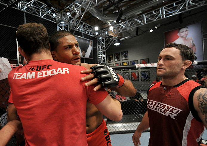 LAS VEGAS, NV - NOVEMBER 21:  Team Edgar fighter Dhiego Lima celebrates his win over team Penn fighter Roger Zapata in their semi-final fight during filming of season nineteen of The Ultimate Fighter on November 21, 2013 in Las Vegas, Nevada. (Photo by Je
