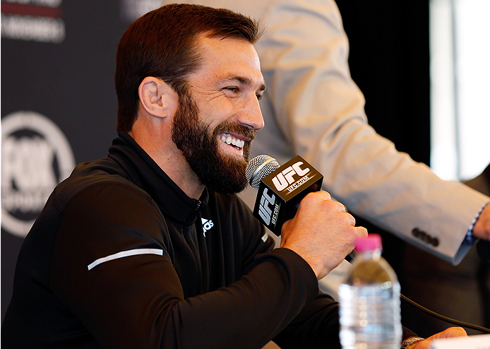 SYDNEY, AUSTRALIA - NOVEMBER 06:  Luke Rockhold of the United States interacts with media during the UFC Fight Night press conference at the Opera Point Marquee on November 6, 2014 in Sydney, Australia. (Photo by Josh Hedges/Zuffa LLC/Zuffa LLC via Getty