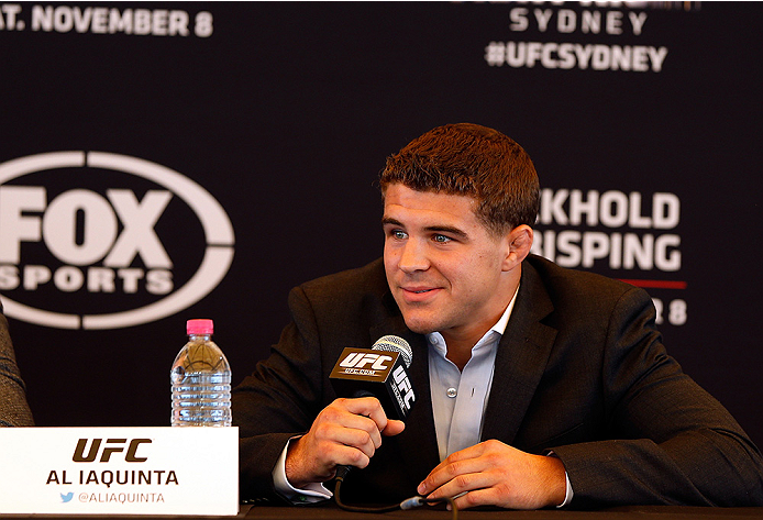 SYDNEY, AUSTRALIA - NOVEMBER 06:  Al Iaquinta of the United States interacts with media during the UFC Fight Night press conference at the Opera Point Marquee on November 6, 2014 in Sydney, Australia. (Photo by Josh Hedges/Zuffa LLC/Zuffa LLC via Getty Im