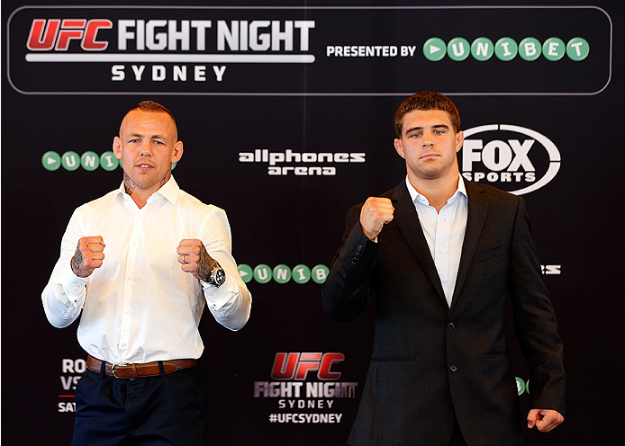 SYDNEY, AUSTRALIA - NOVEMBER 06:  (L-R) Opponents Ross Pearson of England and Al Iaquinta of the United States pose for photos during the UFC Fight Night press conference at the Opera Point Marquee on November 6, 2014 in Sydney, Australia. (Photo by Josh