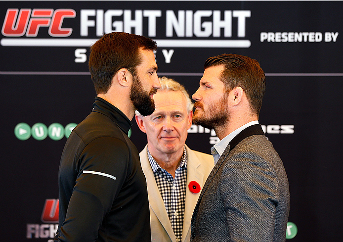 SYDNEY, AUSTRALIA - NOVEMBER 06:  (L-R) Opponents Luke Rockhold of the United States and Michael Bisping of England face off during the UFC Fight Night press conference at the Opera Point Marquee on November 6, 2014 in Sydney, Australia. (Photo by Josh He