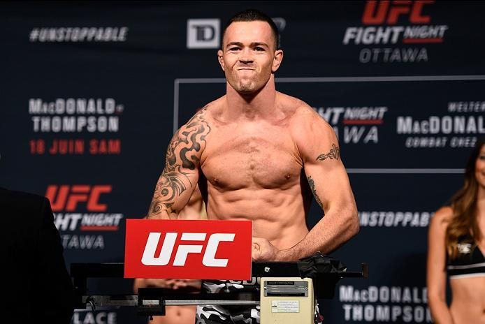 OTTAWA, ON - JUNE 17:  Colby Covington of the United States steps on the scale during the UFC Fight Night Weigh-in inside the Arena at TD Place on June 17, 2016 in Ottawa, Ontario, Canada. (Photo by Jeff Bottari/Zuffa LLC/Zuffa LLC via Getty Images)