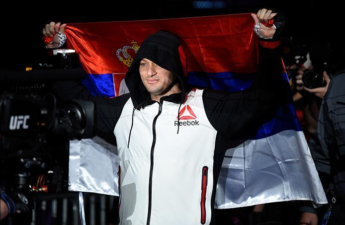 PHOENIX, AZ - JANUARY 15:  Bojan Mihajlovic of Serbia prepares to enter the Octagon before facing Joachim Christensen of Denmark in their light heavyweight bout during the UFC Fight Night event inside Talking Stick Resort Arena on January 15, 2017 in Phoe