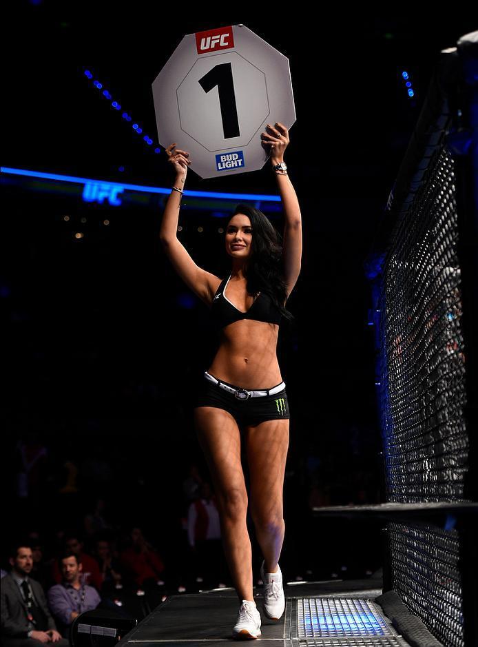 MEXICO CITY, MEXICO - NOVEMBER 05:  UFC Octagon Girl Jamilette Gaxiola introduces the first round during the UFC Fight Night event at Arena Ciudad de Mexico on November 5, 2016 in Mexico City, Mexico. (Photo by Jeff Bottari/Zuffa LLC/Zuffa LLC via Getty I