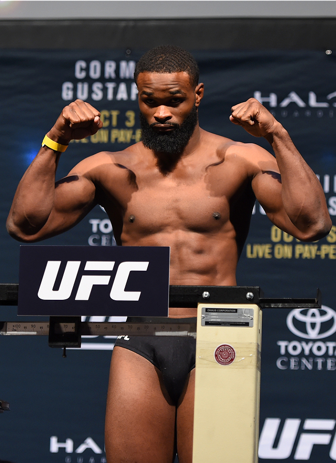 HOUSTON, TX - OCTOBER 02:  Tyron Woodley steps on the scale during the UFC 192 weigh-in at the Toyota Center on October 2, 2015 in Houston, Texas. Woodley's opponent, Johny Hendricks, was forced to withdraw due to medical reasons. (Photo by Josh Hedges/Zu