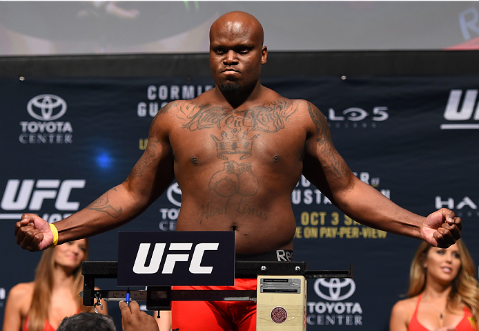 HOUSTON, TX - OCTOBER 02:  Derrick Lewis steps on the scale during the UFC 192 weigh-in at the Toyota Center on October 2, 2015 in Houston, Texas. (Photo by Josh Hedges/Zuffa LLC/Zuffa LLC via Getty Images)