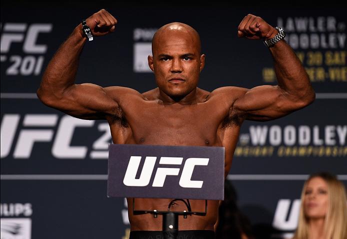 ATLANTA, GA - JULY 29:  Wilson Reis of Brazil steps on the scale during the UFC 201 weigh-in at Fox Theatre on July 29, 2016 in Atlanta, Georgia. (Photo by Jeff Bottari/Zuffa LLC/Zuffa LLC via Getty Images)