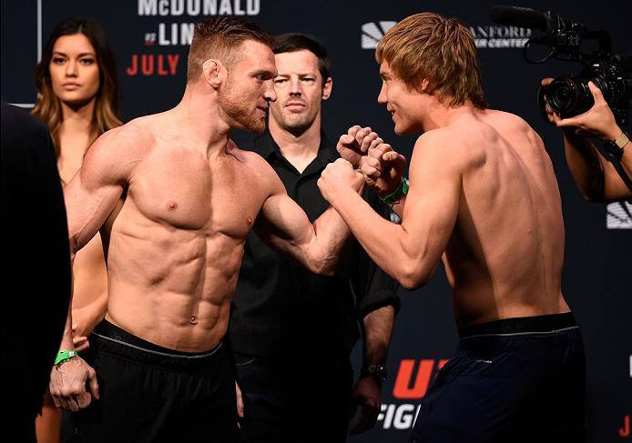 SIOUX FALLS, SD - JULY 12:   (L-R) Opponents Scott Holtzman and Cody Pfister face off during the UFC Fight Night weigh-in at Denny Sanford Premier Center on July 12, 2016 in Sioux Falls, South Dakota. (Photo by Jeff Bottari/Zuffa LLC/Zuffa LLC via Getty I
